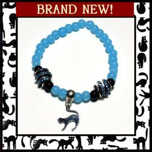 Cat Charm Bracelet with Blue Agate Stone Beads